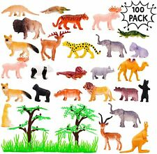 100 x Wild Animals Zoo Safari Farm Playset Toy Animal Figures Kids Children Gift