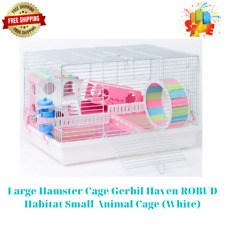 Large Hamster Cage Gerbil Haven Robud Habitat Small Animal Cage (White)