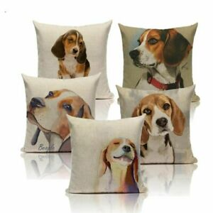 Dog Pillow Cases Cotton Animal Pillowcases Cute Beagle Watercolor 45*45 40*40