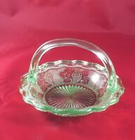 Green Grape Leaf Handled Glass Candy Basket Bowl Table side Vintage Collectible