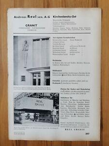 Reklame 238 Naturstein Lauster Stuttgart Cannstatt / Granit Reul Kirchenlamitz
