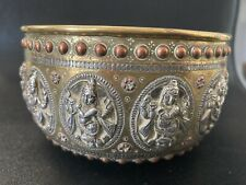 More details for bowl that has been overlaid with alternating copper and silver chased plaques