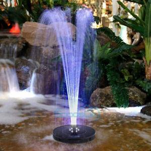 6 LED Lights Solar Powered Fountain Water Pump Night Floating Garden Bird Bath