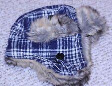 Trapper hat mens blue/white plaid faux fur ear flaps ARIZONA winter one size