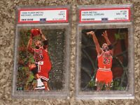 Michael Jordan 2 Card Bundle 1996 Fleer Metal PSA 8 9 MINT 1996-97 HOF Lot RARE