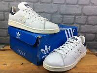 ADIDAS MENS UK 6 EU 39 1/3 WHITE NAVY GOLD STAN SMITH LEATHER TRAINERS RRP £70 M