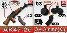 Dual color overmold AK47 toy SET for Lego minifigure - gun + ammo pack (5 parts)