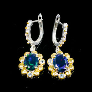 Jewelry Unique SET Black Opal Earrings Silver 925 Sterling/E45450