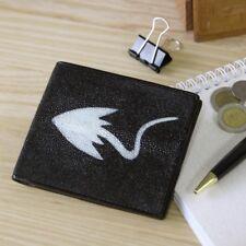 Genuine Stingray Skin Leather Black Bifold Bill Credit Card Wallet Fairy-Leather