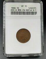 1866 Indian Head Cent Variety Error Coin ANACS VF35 DDO MPD FS-007.6 FS-101 S-1