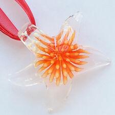 Red Flower Starfish Handmade Lampwork Glass Murano Bead Pendant Ribbon Necklace