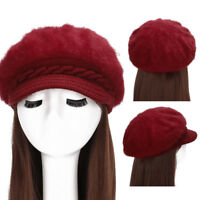 EG_ Women Fashion Faux Rabbit Fur Knitted Hat Outdoor Winter Thicken Warm Beret