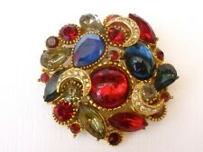 A  GORGEOUS 1950'S BROOCH SET WITH MULTI COLOURED RHINESTONES Signed Sphinx