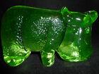 green+Vaseline+glass+hippopotamus+animal+hippo+paperweight+uranium+jungle+yellow