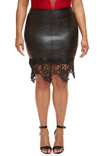 Fashion To Figure Women's Plus Size Brielle Faux Leather Pencil Skirt, Size 3X