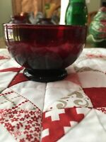 "VINTAGE ANCHOR HOCKING RUBY RED GLASS SHERBET DISH 2 1/2"" TALL"