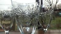 Vintage Etched Water Goblets glasses Wine glasses Optic Panel Green stem 4 10 oz