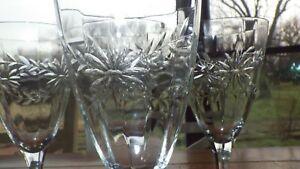 Vintage Etched Water Goblets glasses Wine glasses Optic Panel Green stem 4 10 oz