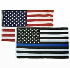 2 PACK! 3x5 ft Thin Blue Line Police Lives Matter & USA American Flag w/Grommets