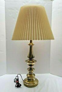 "Stiffel Lamp Brass Mid-Century Modern  With Shade 28"" New Cord"
