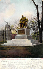 Pingree Monument Detroit MI Made in Germany Tinted Undivided 1901 Postcard A2
