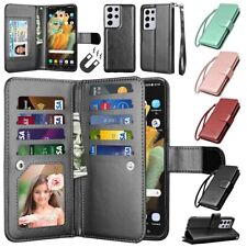 Samsung Galaxy S21 Ultra S20 FE 5G S10 S9 S8 Plus Wallet Case Leather Card Cover