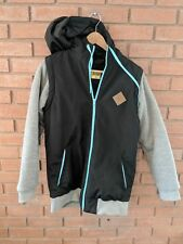 Jiberish Nylon/Cotton Ski Hoodie Jacket Coat Mens Size Small (S) Black Gray Teal