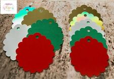 50 Scalloped Card Gift Tags Christmas Colours- Labels Card Making Crafts