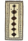 Vintage Tribal Oriental Gabbeh Runner, 3'x7', Ivory, Hand-Knotted Wool Pile