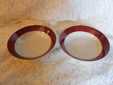 "2 Sakura  BARNS by Warren Kimble  1998 - Barn Red Edge 7 1/2"" Coupe Bowls"