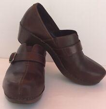 Dansko Tamara Comfort Clog Brown Full Grain Leather Buckle EU 41 US 11 MSRP $150