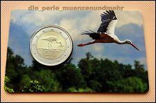 2 Euro Gedenkmünze Lettland  2015 - Schutzprogramm Schwarzer Storch - Coincard