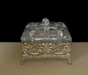 Small Antique Dresser Box. Brass & Glass. Ornate. Early 1900's