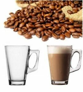 NEW SET OF 6 240ML CLEAR TALL COSTA CAPPUCCINO COFFE TEA LATTE GLASS MUGS CUPS