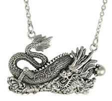 Sterling Silver Chinese Asian Dragon Necklace 18 Inch Chain - Good Luck Pendant
