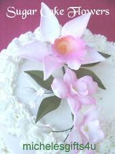 Sugar Gum Paste White Pink Orchids Stephanotis Leaves Cake Decorating Flowers