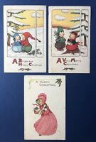 3 Christmas Antique Postcards ARTIST SIGNED Children for Collectors w Value