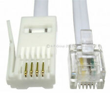 20m BT Phone Plug to RJ11 4 Pin Cable Telephone Modem Straight / Wired WHITE