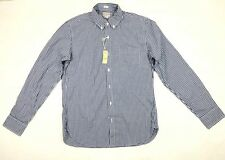 New J Crew Men's Slim Fit Blue White Check Button Down Shirt Size Medium