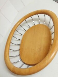 Large Oval Wood Metal Fruit / Bread /Basket / Bowl Very Well Made