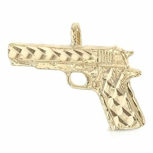 14K Yellow Gold Pistol Charm Gun Pendant For Necklace or Chain