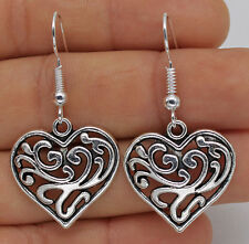 925 Silver Plated Hook - 1 Pair Hollow Heart Flower Lady Party Earrings New #61