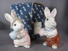 Fitz Floyd Bunny Hollow Rabbit Salt Pepper Shakers Easter Egg Beatrix Potter Box