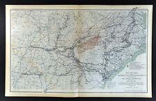 Civil War Map United States Sherman's March Atlanta Savannah Columbia Raleigh