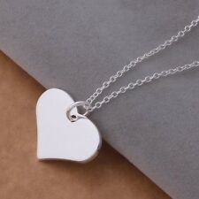 925 Silver Plated Women Fashion Heart Love Pendant Necklace Chain