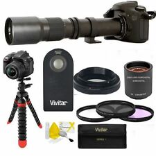 TELEPHOTO ZOOM LENS 1000MM +TRIPOD +HD FILTER KIT + REMOTE FOR CANON EOS REBEL
