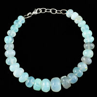 Genuine 155.00 Cts Natural Green Chalcedony Round Shape Beads Bracelet (RS)