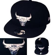 New Era NBA Chicago Bulls Casquette Snapback Noir Argent Métallique devant Badge