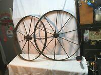 "9 Spoke Pair  Cast Iron Wagon/ Cart Wheel Fly Wheel  29"" Diameter x 1.5in thick"