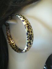 2.25 INCH HOOP EARRINGS LEOPARD ANIMAL PRINT GOLD OR SILVERTONE